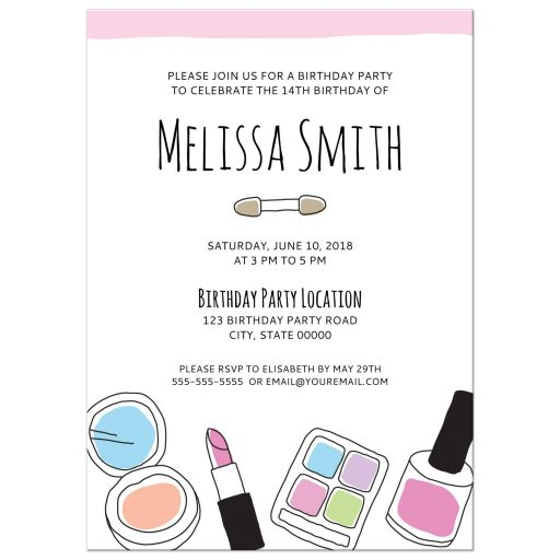 Makeup doodle teen birthday party invitation for girls