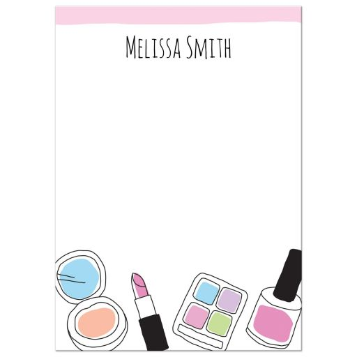 Makeup note card with personalized name