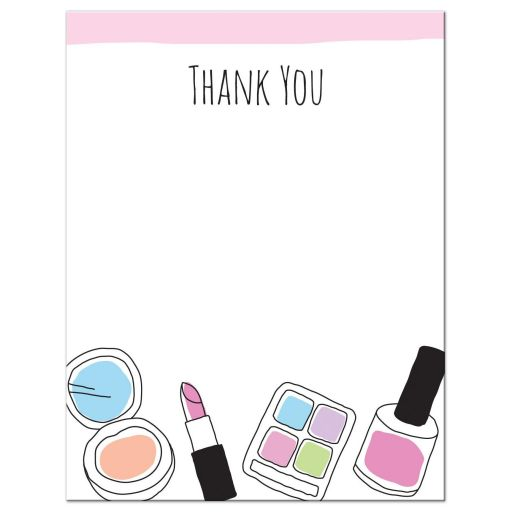 Makeup thank you note card for teenage girls