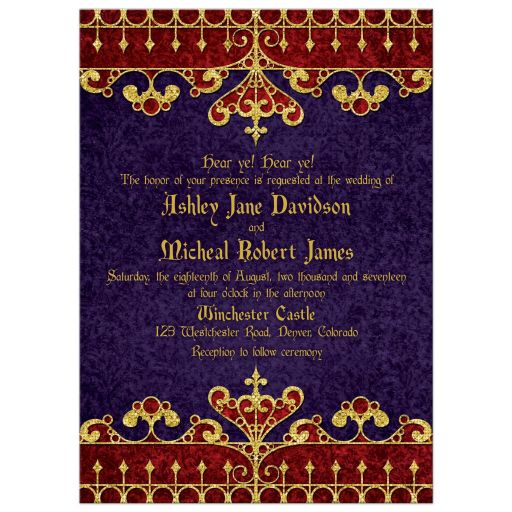 Purple red gold medieval renaissance royal wedding invitation