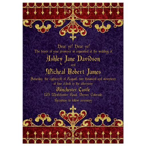 Purple Red Gold Royal Medieval Wedding Invitation