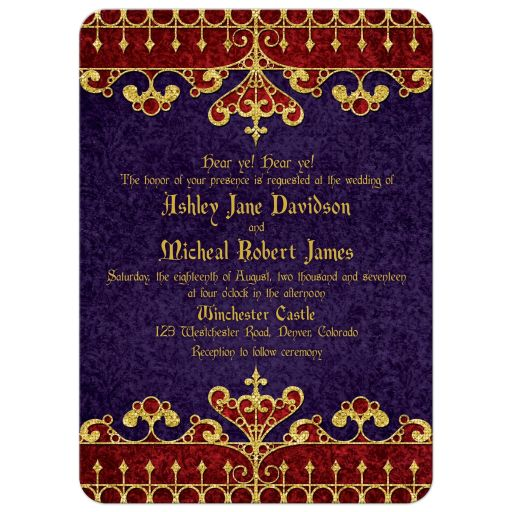 Red, purple, and gold royal medieval renaissance wedding invitation front