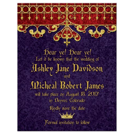 Purple red gold medieval renaissance royal wedding save the date