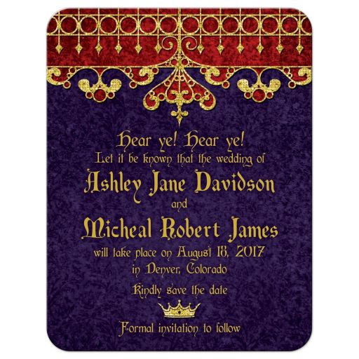 Red, purple, and gold royal crown medieval renaissance wedding save the date card front