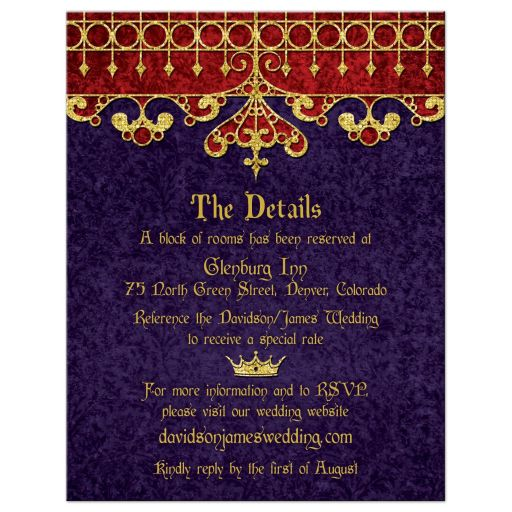 Purple red gold medieval renaissance royal wedding details card