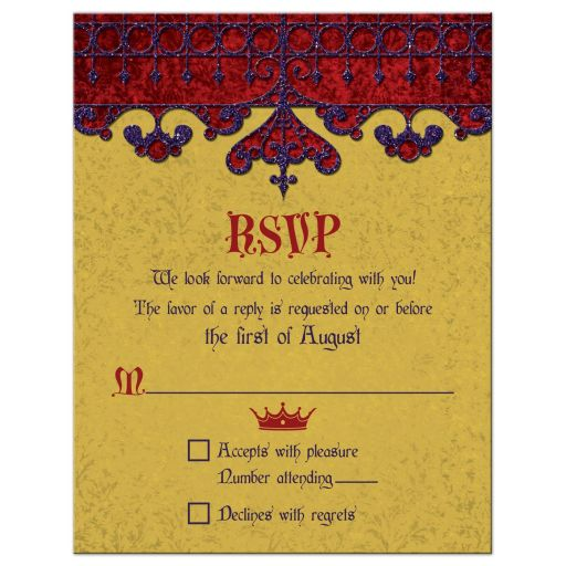 Purple red gold medieval renaissance royal wedding RSVP card