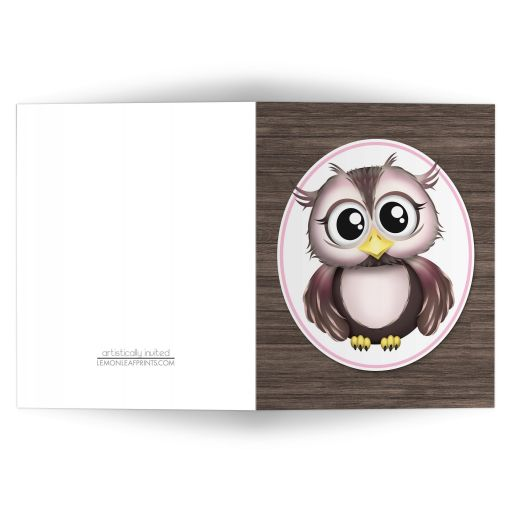 Note Cards - Owl Pink with Brown Rustic Wood