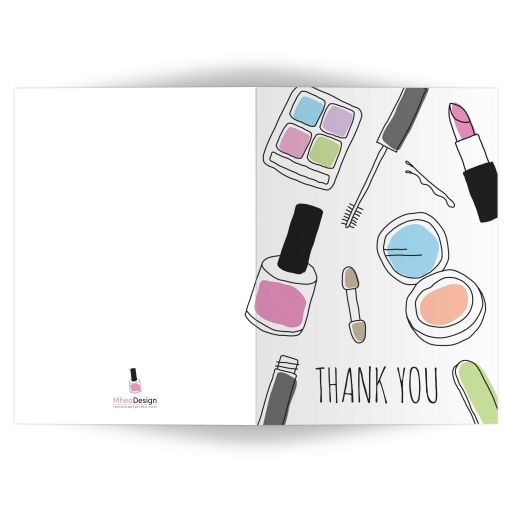 Makeup thank you card, A7 5x7 folded design