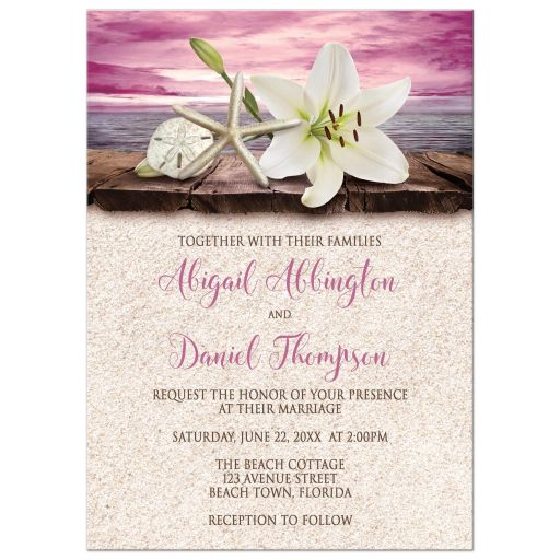 Wedding Invitations - Beach Lily Seashells and Sand Magenta