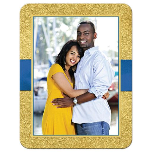 Royal blue and gold foil and floral wedding photo save the date cards with joined jewel hearts and ribbon.