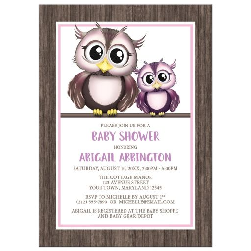 Baby Shower Invitations - Owls Pink and Purple with Rustic Wood