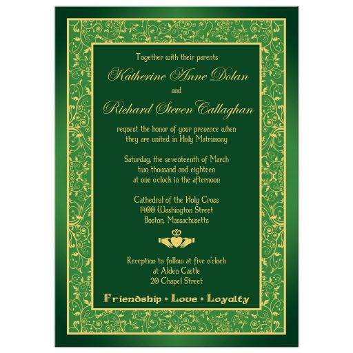 Great green and gold Irish wedding invites with gold Claddagh and intricate pattern border.