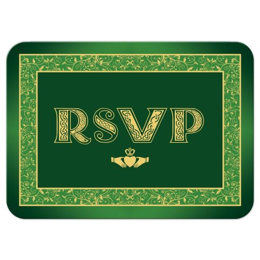 Green and gold Irish or Celtic wedding RSVP enclosure card insert with gold Claddagh and intricate floral pattern border.