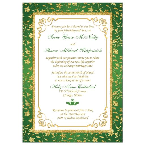 Green, gold, and white floral photo template Irish or Cletic wedding invitation with faux gold foil and Claddagh symbol.