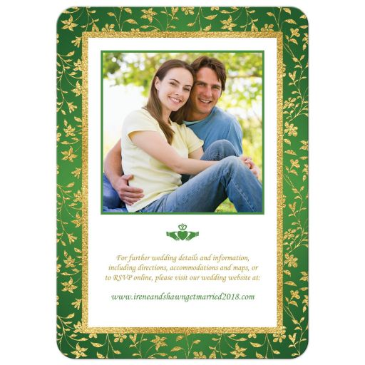 Green, gold, and white floral photo template Irish or Cletic wedding invite with faux gold foil and Claddagh symbol.
