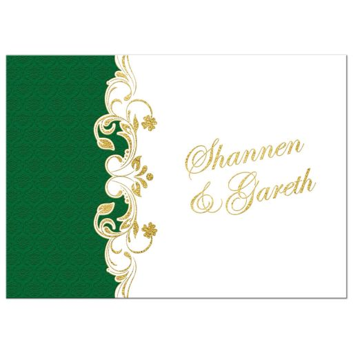 Green, gold, and white Irish or Celtic damask pattern wedding invitation with faux gold foil scrolls, shamrocks, and Claddagh symbol.
