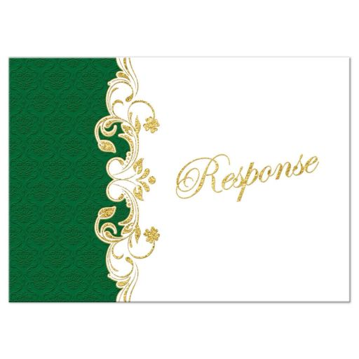 Green, gold, and white Irish or Celtic damask pattern wedding response enclosure card insert with faux gold foil scrolls, shamrocks, and Claddagh symbol.