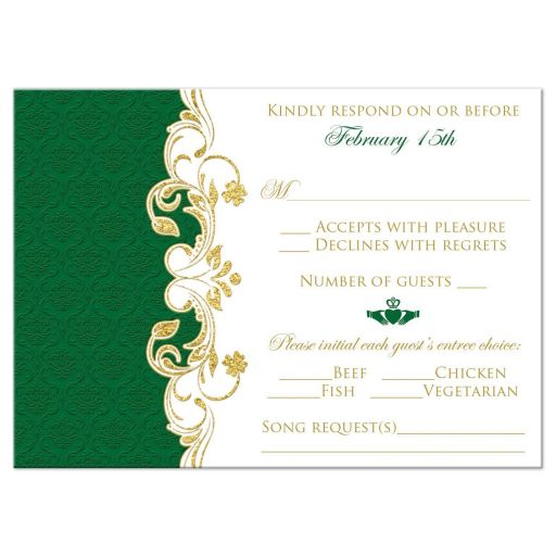 Green, gold, and white Irish or Celtic damask pattern wedding rsvp enclosure card insert with faux gold foil scrolls, shamrocks, and Claddagh symbol.