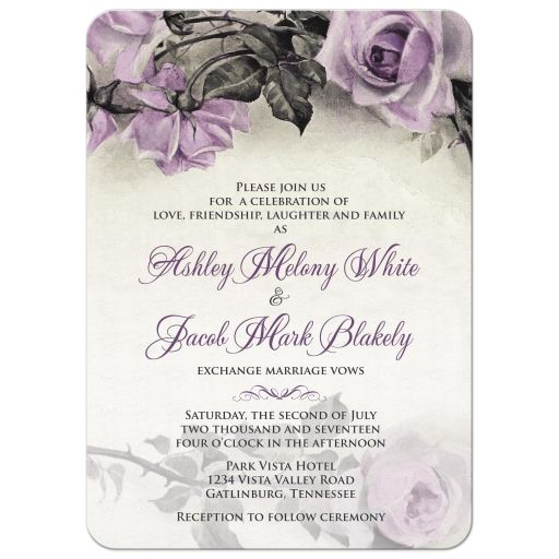Vintage mauve purple grey ivory rose wedding invitation front