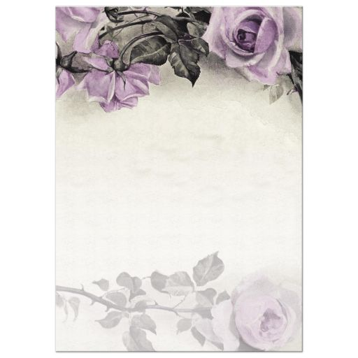 Vintage mauve purple grey ivory rose wedding invitation back