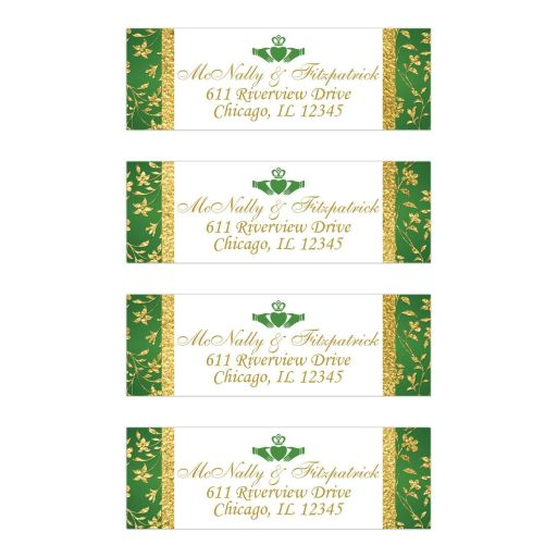 ​Personalized return address mailing labels in green, white and gold floral with a Claddagh symbol.
