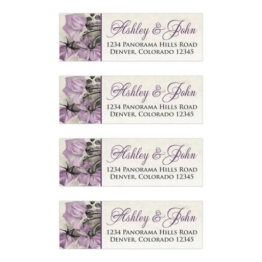Vintage mauve purple grey ivory rose wedding address labels