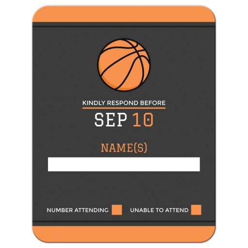 Basketball bar mitzvah RSVP card with orange borders
