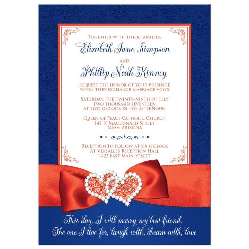 Royal blue, orange, and white floral pattern wedding invitations with ribbon, glitter and a pair of jeweled double joined hearts buckle brooch on it.