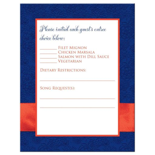 R​oyal blue, orange, and white floral pattern wedding RSVP enclosure card inserts with ribbon, bow, glitter and a pair of jeweled double joined hearts buckle brooch on it.