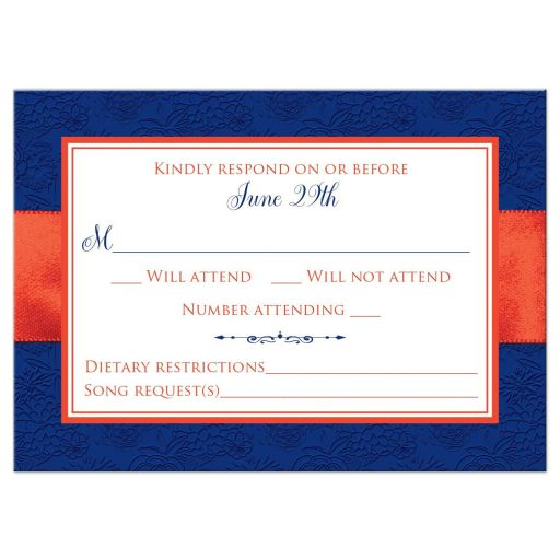 ​Royal blue, orange, and white floral pattern wedding RSVP enclosure card insert with ribbon, bow, glitter and a pair of jeweled double joined hearts buckle brooch on it.