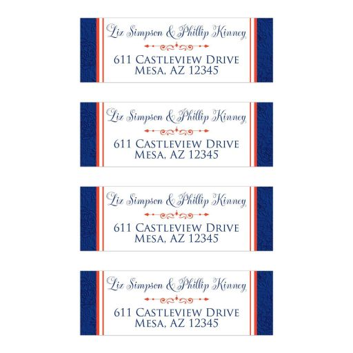 Personalized royal blue, orange and white floral wedding return address mailing labels with decorative scroll.