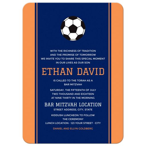 Soccer bar mitzvah invitation with orange side borders