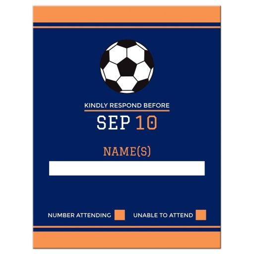 Navy blue soccer bar mitzvah RSVP card with orange borders and soccer ball