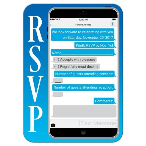 Cell phone technology Bar Mitzvah, B'nai Mitzvah, Bat Mitzvah or B'not Mitzvah response reply RSVP card.