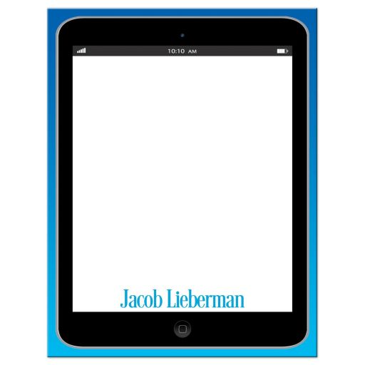 Personalized Tablet Technology Thank You Note Card in Blue.