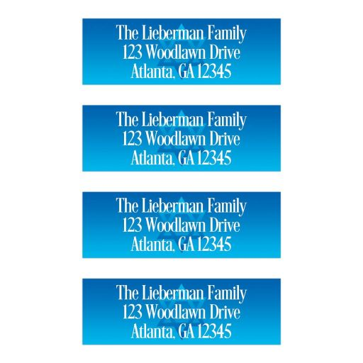 Personalized blue and white Bar Mitzvah, Bat Mitzvah, B'not Mitzvah, B'nai Mitzvah return address mailing labels with Jewish Star of David.