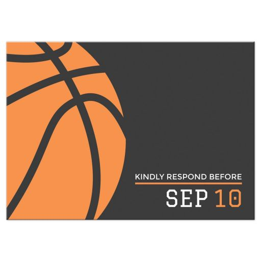 Modern, minimal basketball bar mitzvah RSVP card in dark gray and orange