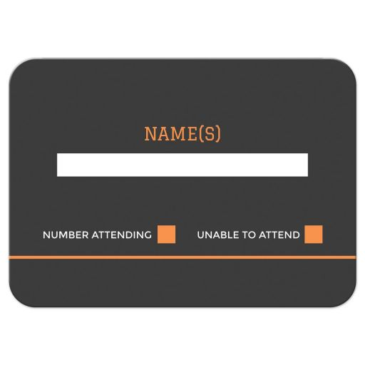 basketball bar mitzvah reply card in orange and dark gray