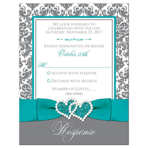Aqua blue, gray and white damask pattern wedding RSVP enclosure card insert with turquoise or teal ribbon, glitter and a jeweled joined hearts buckle brooch.