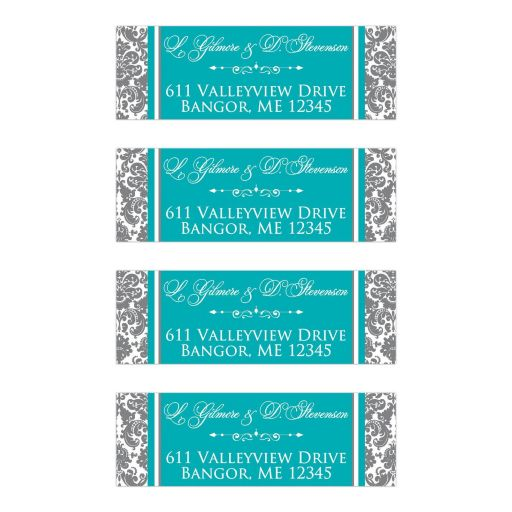 Grey and white damask pattern personalized wedding return address mailing labels have aqua or teal blue accents with white ornate scroll decorations.