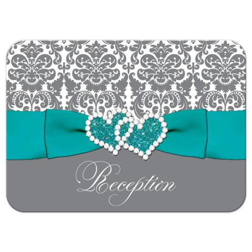 Aqua blue, grey and white damask pattern wedding receotion enclosure card insert with turquoise or teal ribbon, glitter and a jeweled joined hearts buckle brooch.