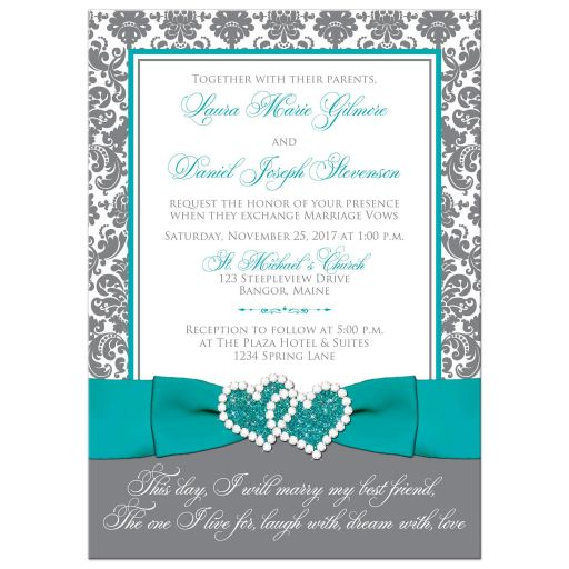 Aqua blue, grey and white damask pattern photo template wedding invitation with turquoise or teal ribbon, glitter and a jeweled joined hearts buckle on it.