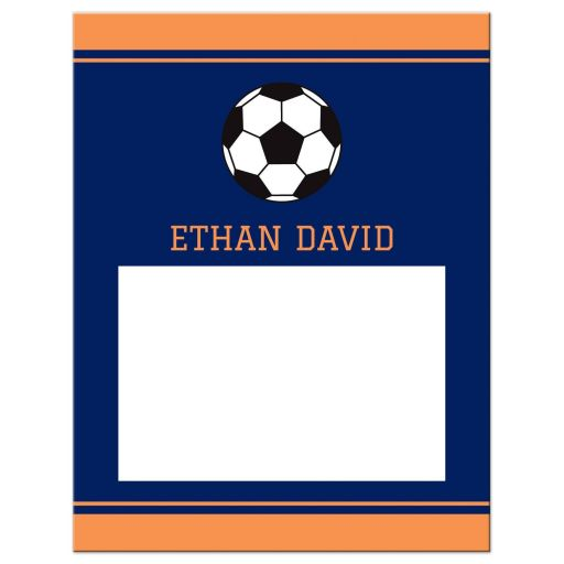 Navy Blue Orange Modern Soccer Bar Mitzvah Personalized Flat Thank You Card