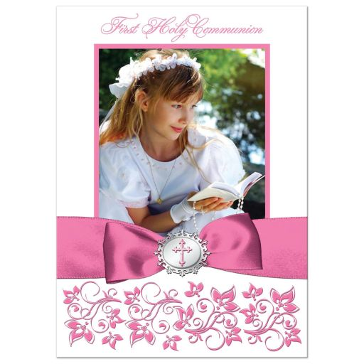 pink and white floral photo template first holy communion, confirmation, baptism, christening thank you card with ribbon, bow, Cross and doves.