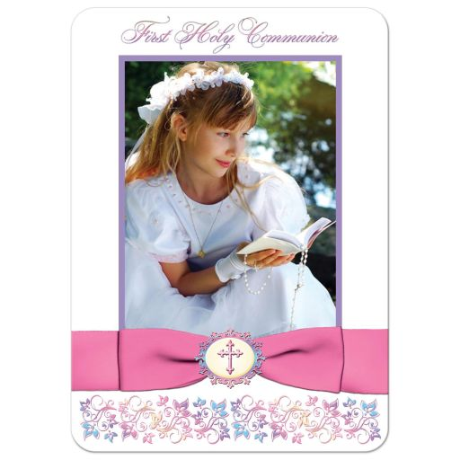 pink, white and pastel blue, purple, and yellow floral photo template first holy communion, confirmation, baptism, christening thank you card with ribbon, bow, Cross and doves.