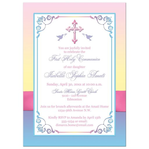 Yellow, pink, purple, and blue first holy communion invitation with ribbon, bow, flowers, scrolls and religious Cross.