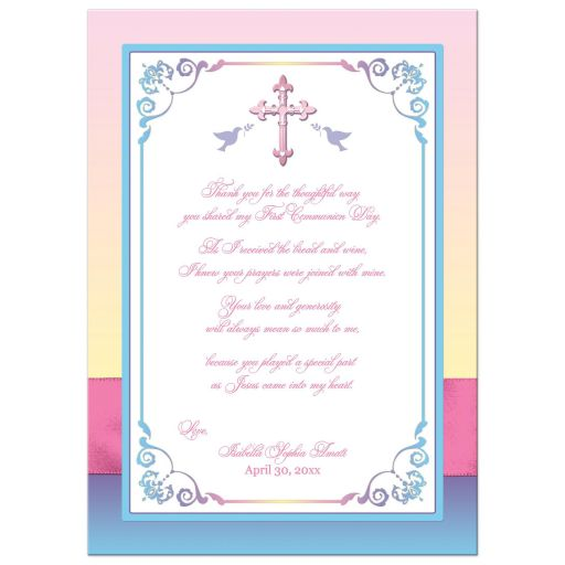 Pink, yellow, purple, blue and white first holy communion photo thank you card with ribbon, bow, flowers, scrolls, religious Cross and doves.