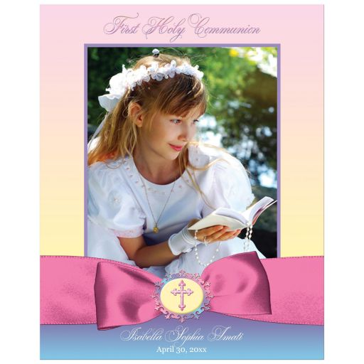 Pretty pastels personalized First Holy Communion photo template art print in pastel pink, purple, yellow, aqua blue and white with a printed pink satin look ribbon, bow and ornate Cross.