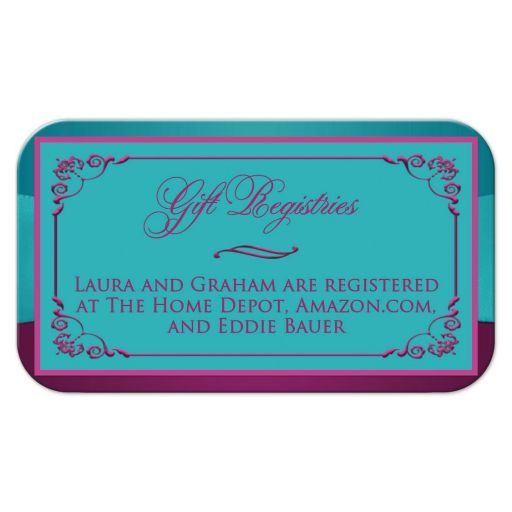 Plum purple, teal blue and magenta pink floral wedding gift registry or reception enclosure card insert with ribbon, bow, jeweled joined hearts, ornate scrolls and flourish.