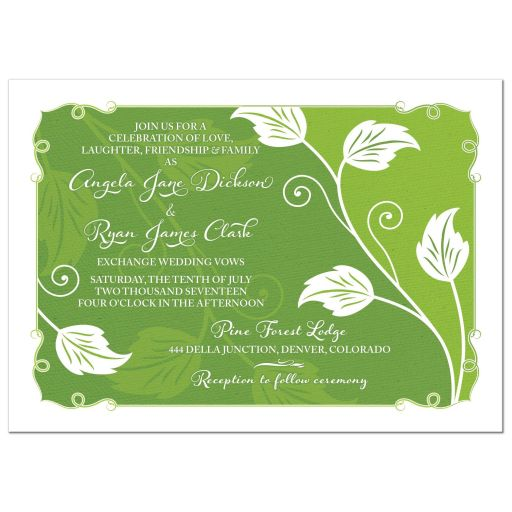 Green Leafy Vine Leaves Greenery Wedding Invitation